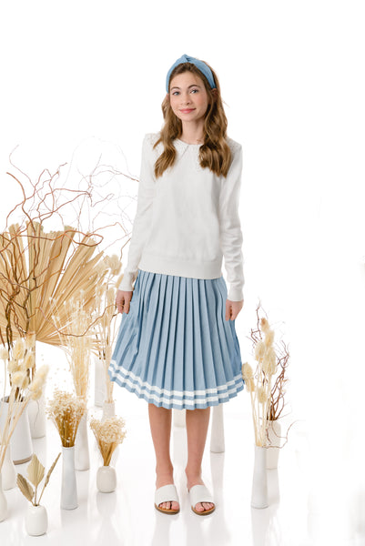 Teens Ice Blue Pleated Skirt with Ivory Ribbon Detail