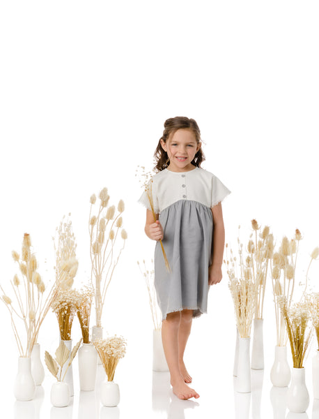 Girls Dusty Blue and Ivory Linen Dress