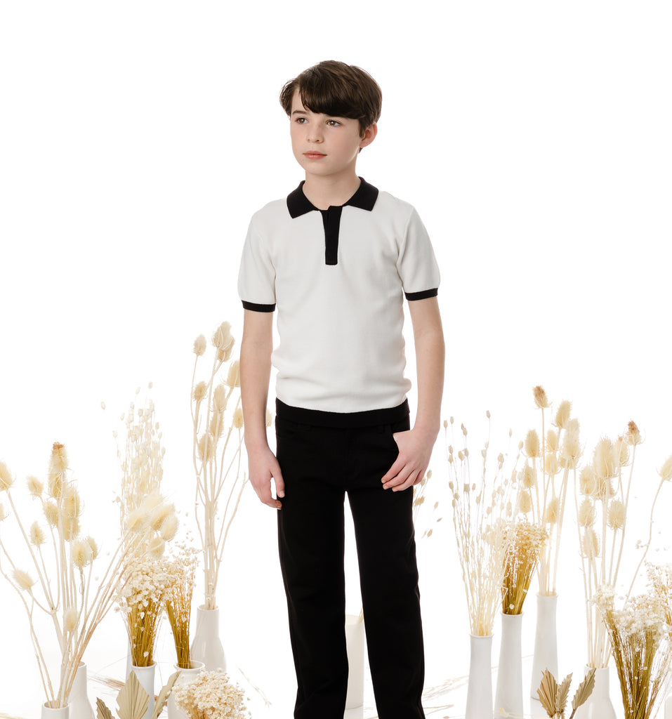 Boys Ivory Knit Polo with Black Accents