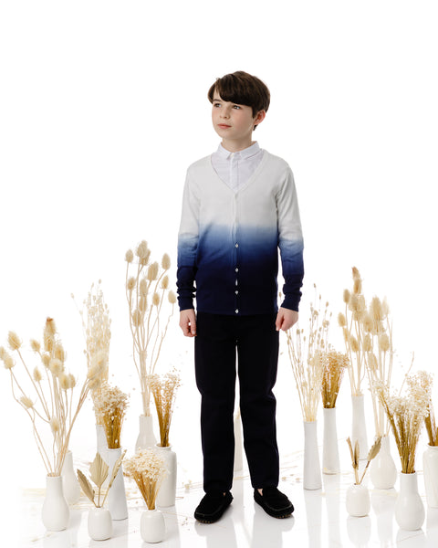Boys Ombre Cardigan in Navy