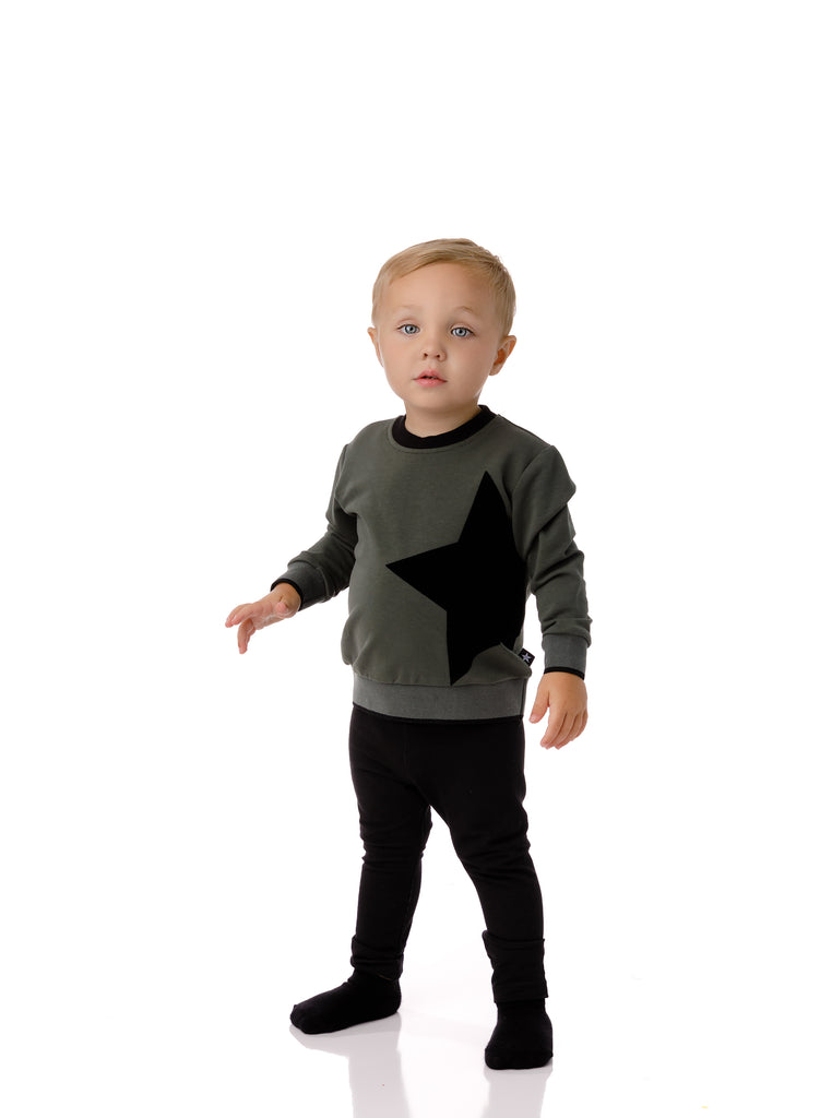 Baby Velvet Star Sweatshirt in Green