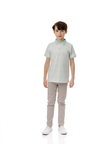 Boys Sketch Plaid Short Sleeve Polo in Mint