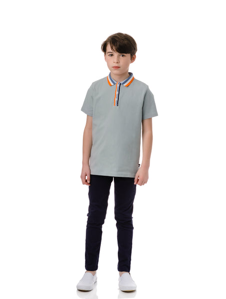 Slate Blue Short Sleeve Polo with Multi Colored Ribbing