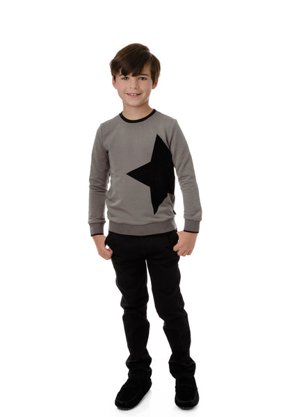 Boys' Velvet Star  Sweatshirt in Grey