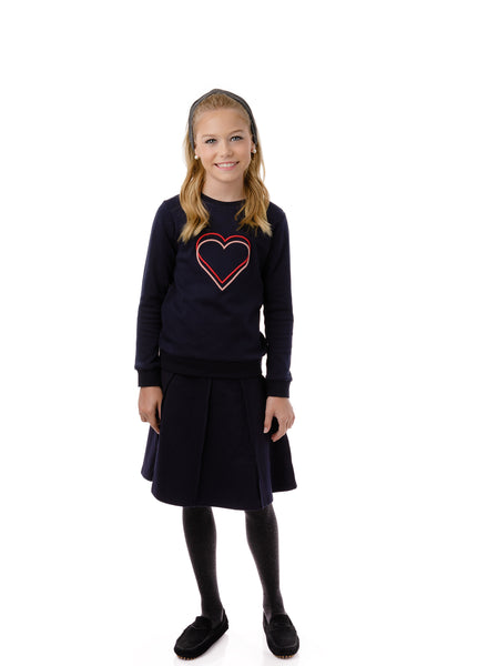 Girls' Threaded Heart Sweatshirt