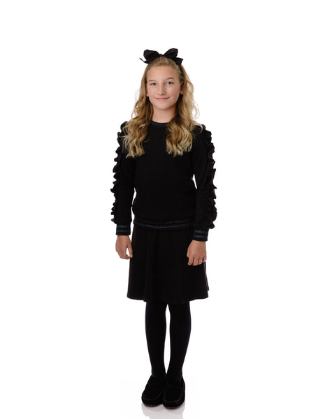 Girls' Black and Metallic Ruffle Sleeve Sweatshirt