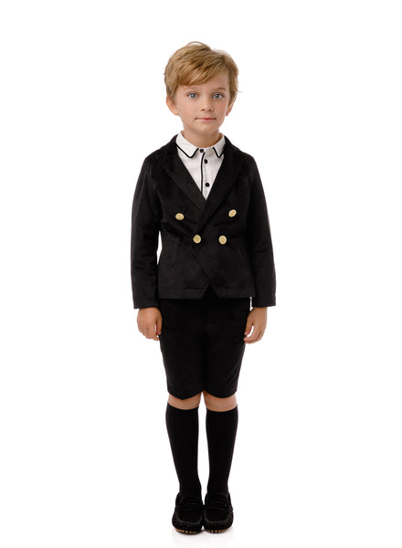 Boy's Velvet Double Breasted Blazer Black