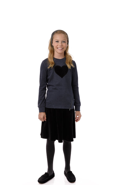Girls' Velour Skirt in Black