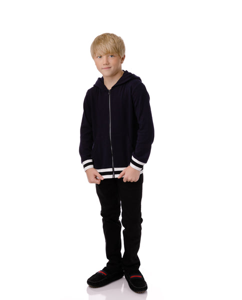 Boys' Zip Up Sweatshirt with Ribbed Trimming