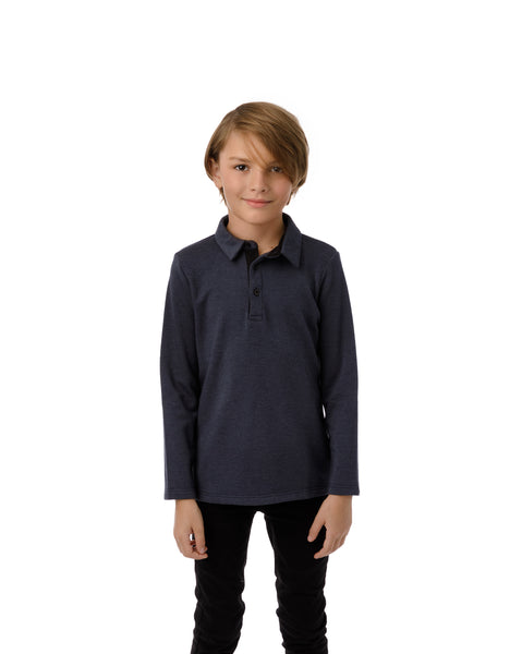 Boys' Polo in Heather Blue