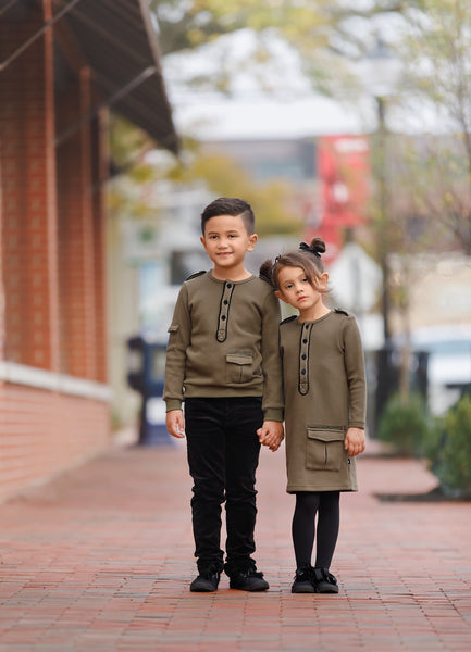 Girls Olive Military Dress