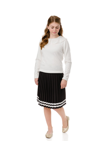 Teens Black Pleated Skirt with Ivory Ribbon Detail