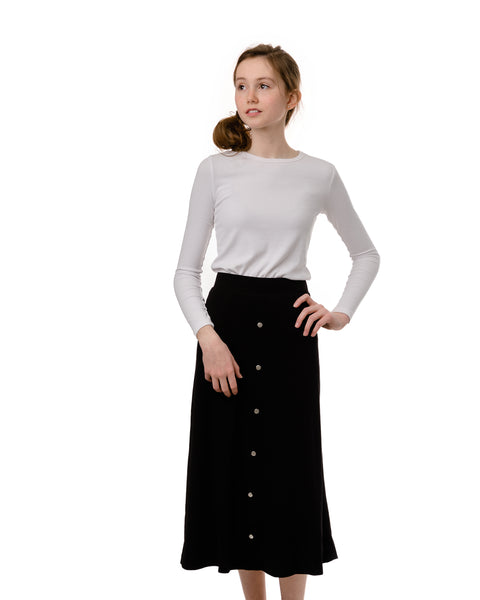 Teens Black Ribbed Midi Skirt