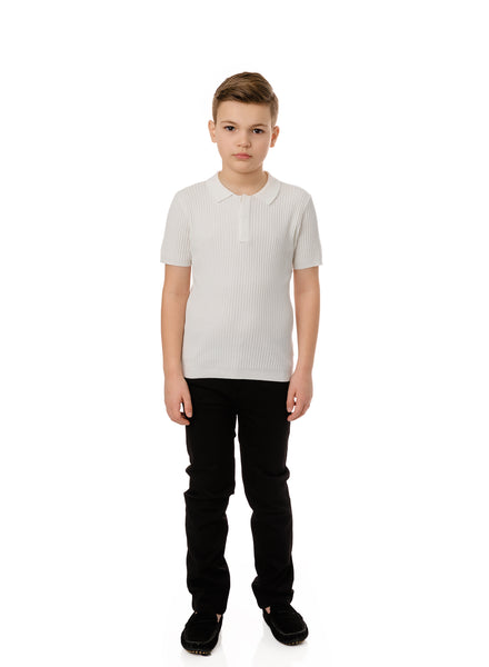 Boys Ivory Ribbed Knit Polo