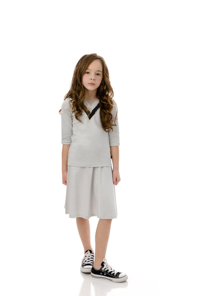 Girls' Basic Skirt in Light Grey