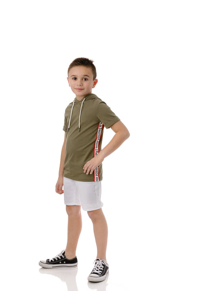 Boys' Hooded T-shirt in Olive