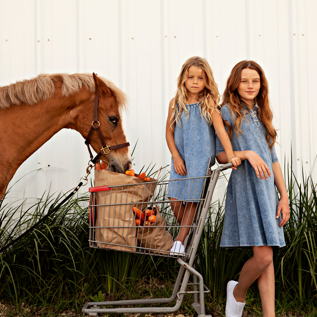 Girls Stretch Denim Rope Closure Dress