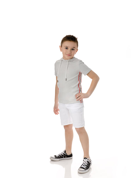 Boys' Hooded T-shirt in Light Grey
