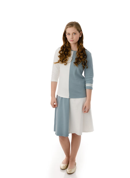 Girls' Light Teal and White A-line Skirt