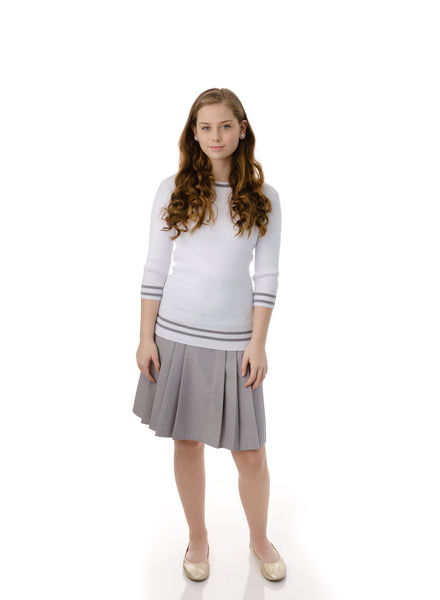Teens'  Ribbed Knit Top in White