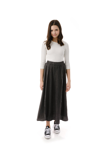 Teens' Maxi Outside Seam Skirt in Charcoal Denim