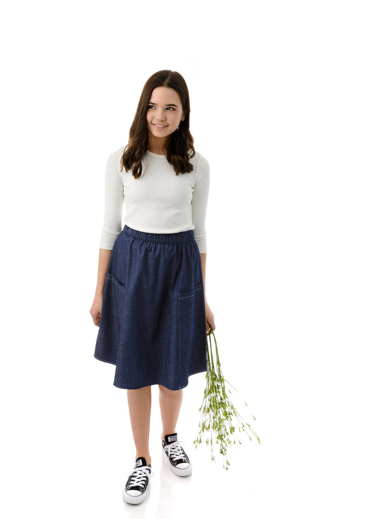 Girls' Basic skirt in Navy Denim