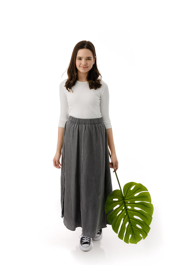 Teens' Maxi Outside Seam Skirt in Grey Denim