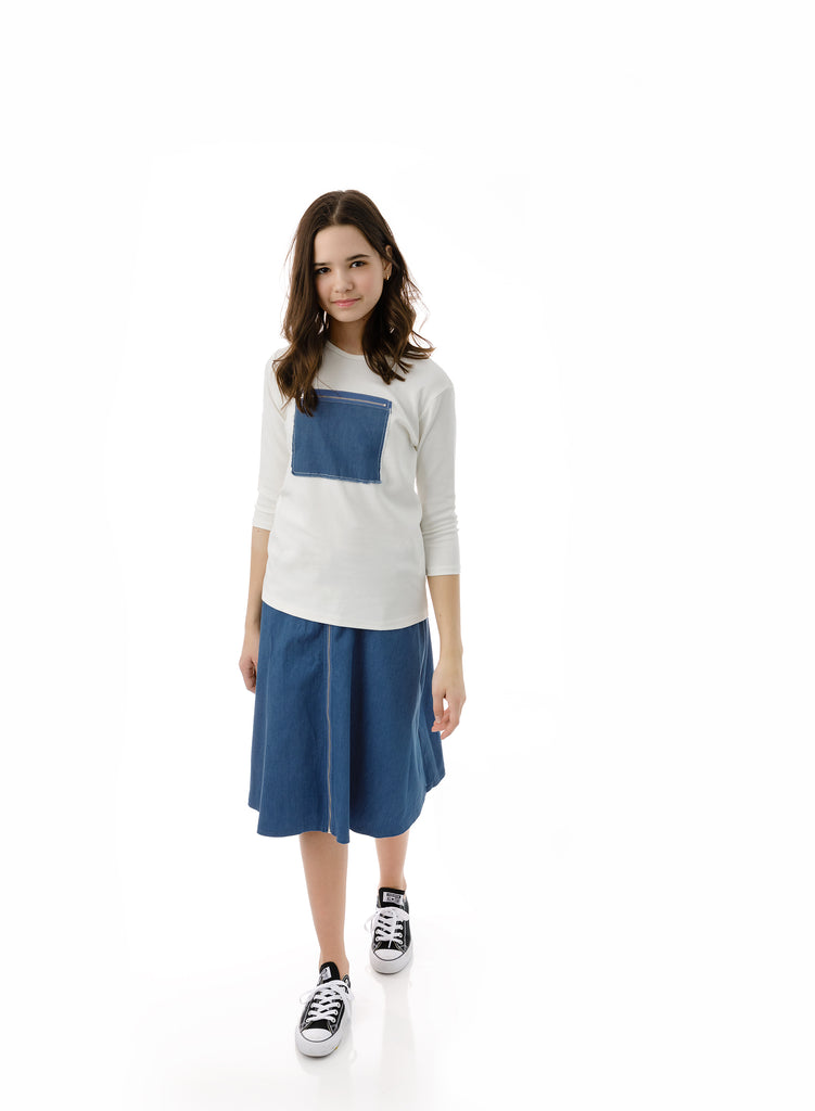 Girls' Zipper Skirt in Blue Denim