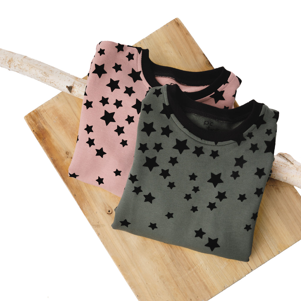 Girls' Velvet Star Sweatshirt in Blush