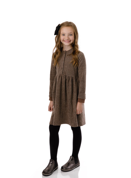 Girls' Gathered Waist Dress in Heather Brown