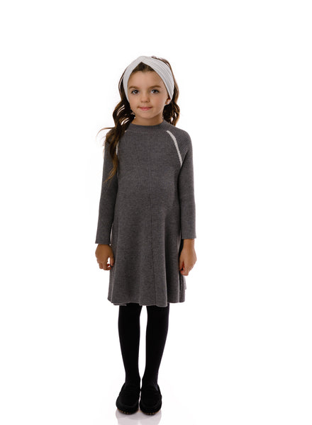 Girls' Ribbed Sweater Dress in Grey