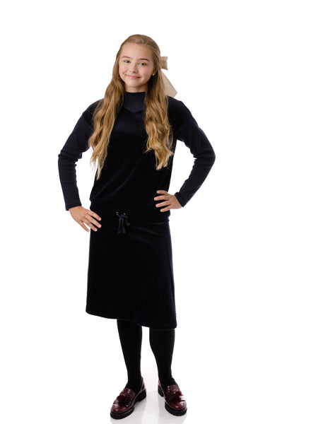 Teens' Velour Skirt in Navy
