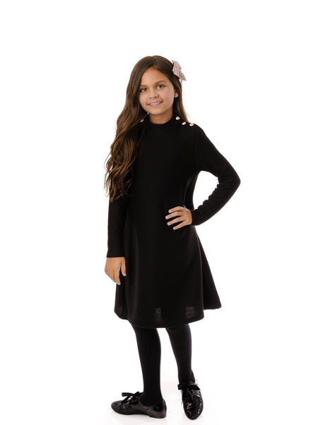 Girl's mock neck dress in black