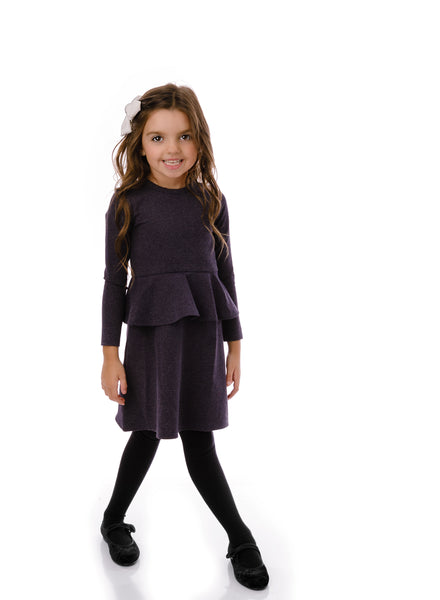 Girl's stretch peplum dress in heather navy