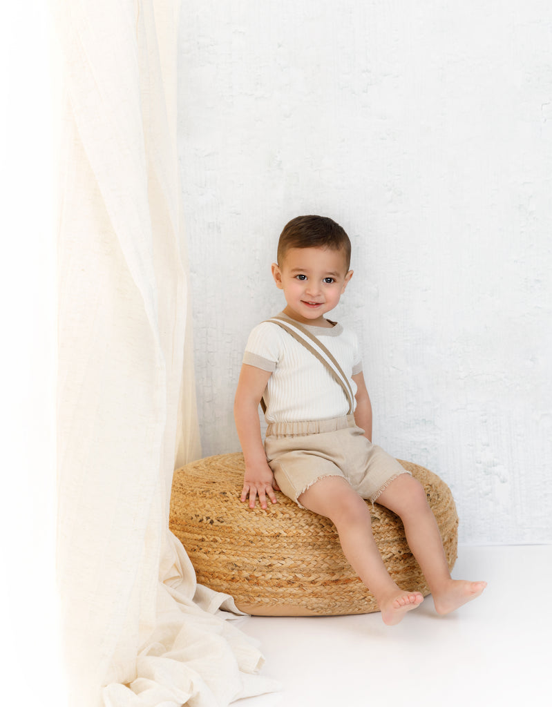 Ivory Ribbed Onesie with Cork Colored Trimming