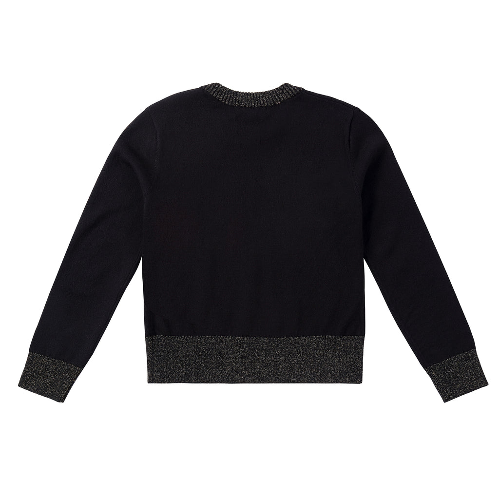 Black Knit Sweater with Gold Accent