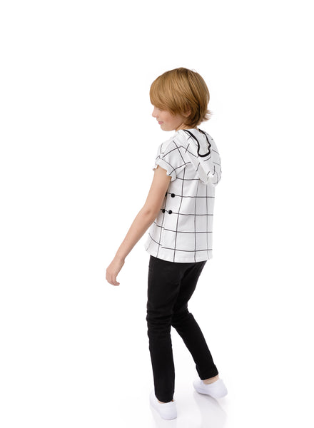 Boys Hooded Grid Top