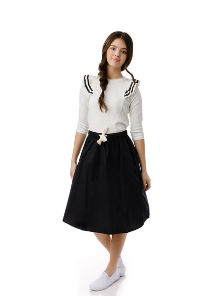 Teens A-line Skirt with Bow in Black
