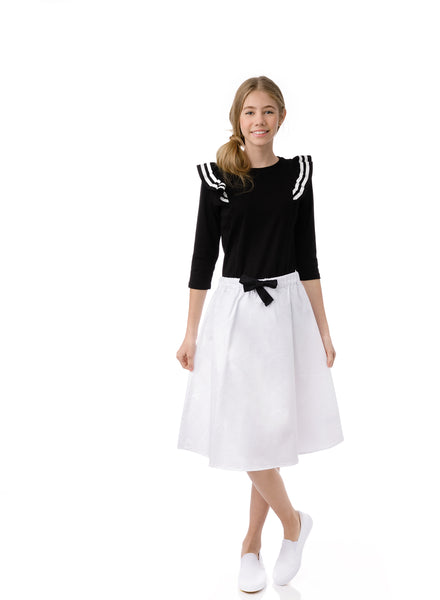 Teens A-line Skirt with Bow in Ivory