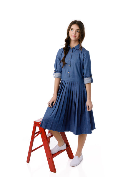 Teens Pleated Dress in Chambray