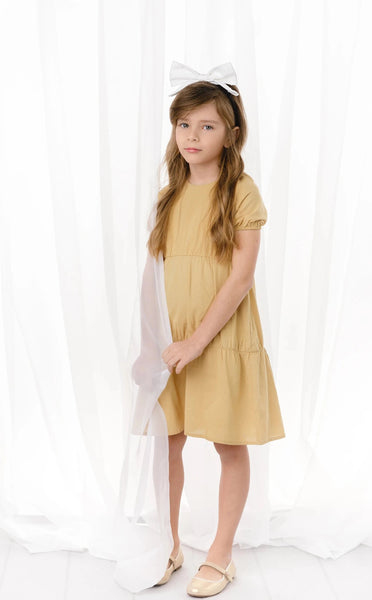 Girls Linen Dress in Gold