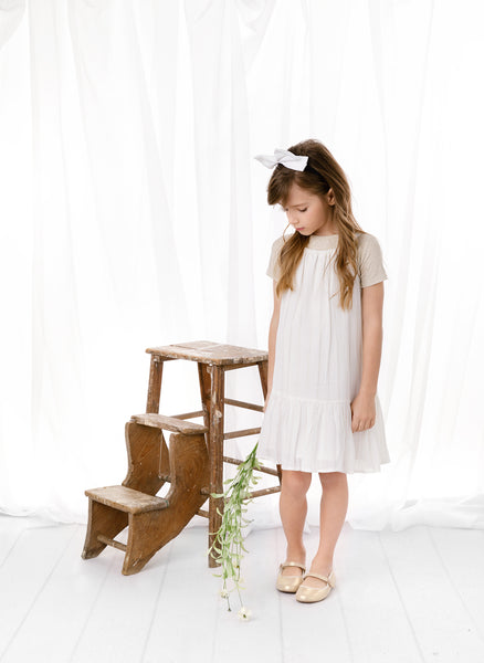 Girls Ivory Chiffon Jumper with Metallic Lurex