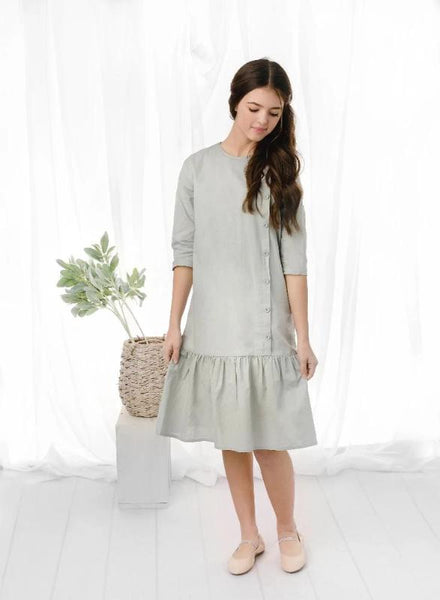 Girls Linen Dress in Sage