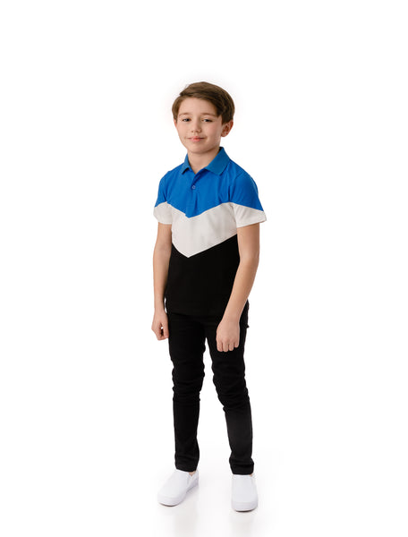 Boys' Blue and Black Polo