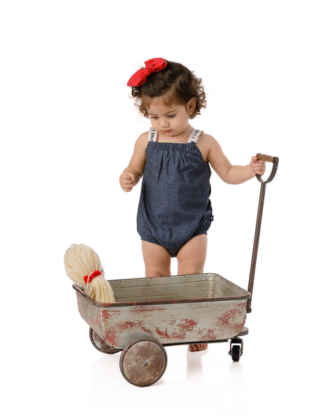 Baby Girls' Speckled Denim Romper