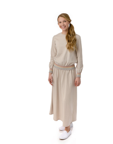 Teens' Tan Rainbow Maxi Skirt