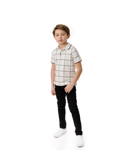 Boys Long Sleeve Grid Polo