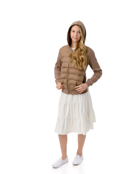Teens Taupe Ribbed Sleeve Puffer Jacket