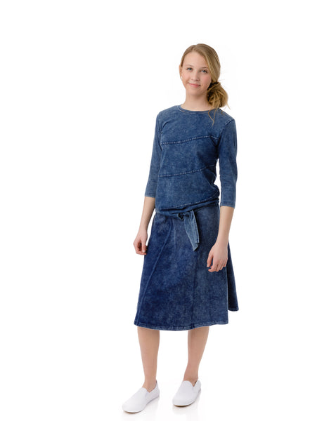 Girls Paneled Skirt in Denim