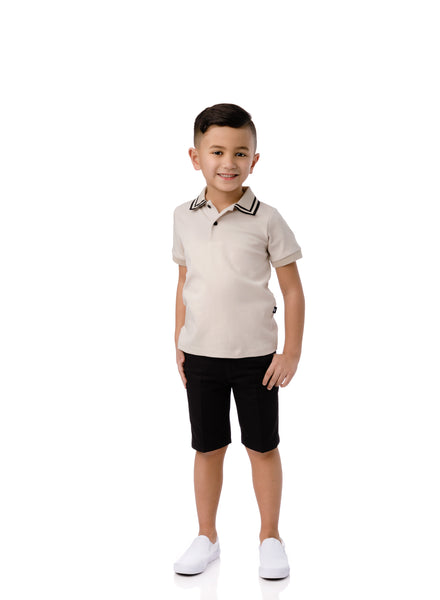 Boys Tan Polo with Black Trim